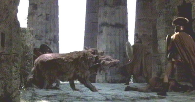 Harry Hamlin faces down Cerberus in Clash of the Titans