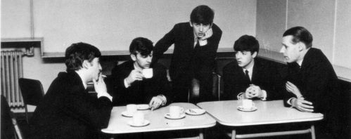 The Beatles with producer George Martin